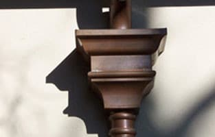 Custom Leader Head with Fleur De Lis Downspout Strap