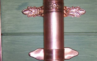 Copper Metco Fleur de Lis and Leaf Downspout Bracket