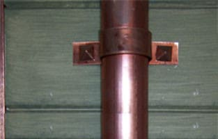 Small Copper Diamond on Standard Downspout Strap