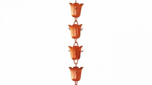 Copper Tulip Cup Rain Chain