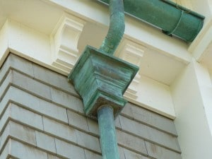Oxidized Patina Copper Gutter Leader Head and Downspout