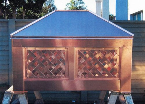 Custom Copper Basket Weave Chimney Shroud