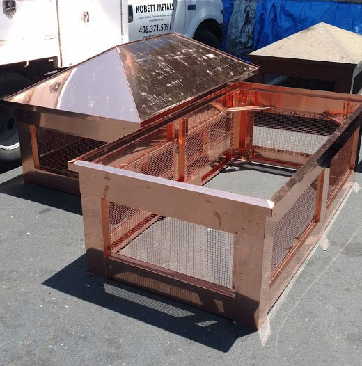 custom copper chimney cap assembly