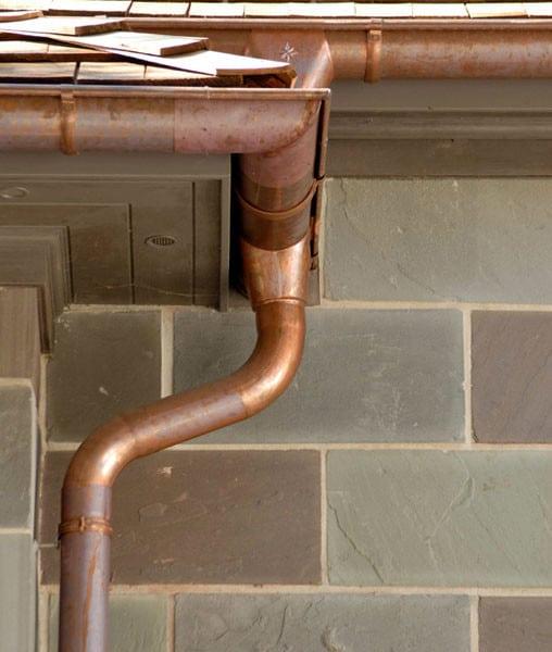 copper gutter and downspout on waipahu oahu hawaii home
