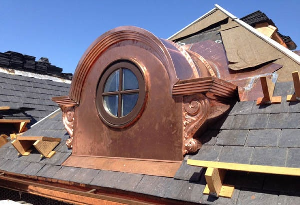 custom designed copper dormer for roof