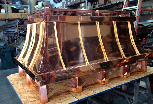 custom fabricated copper shroud for roof