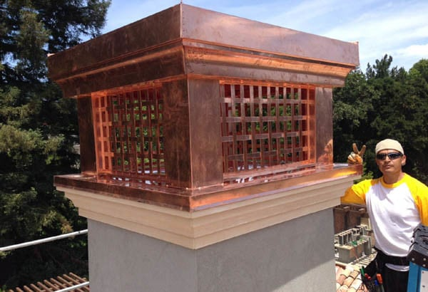 custom fabricated copper chimney shroud installation