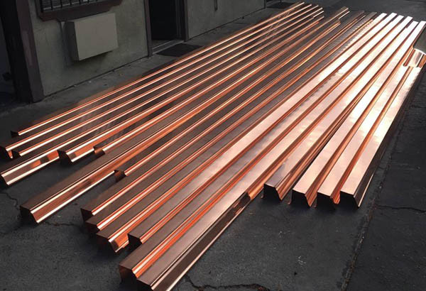 custom cut copper gutters