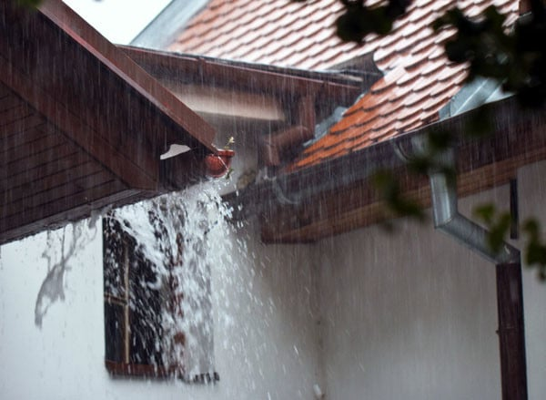 heavy rain on gutters in kaneohe oahu hawaii