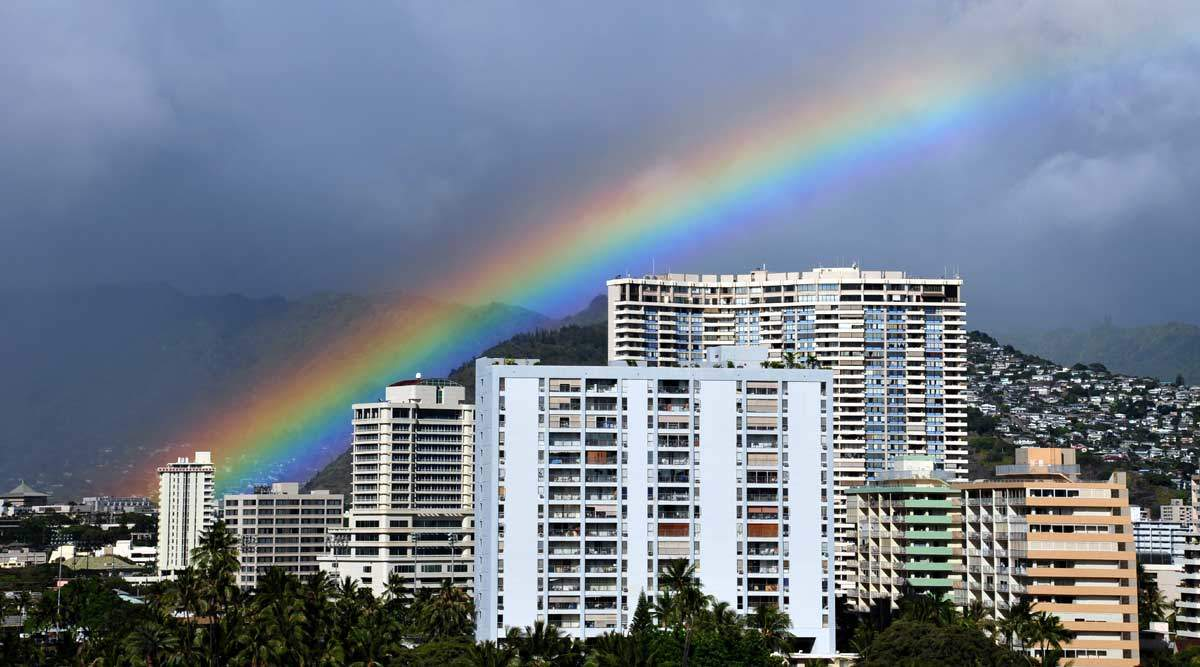 rainbow over honolulu hawaii