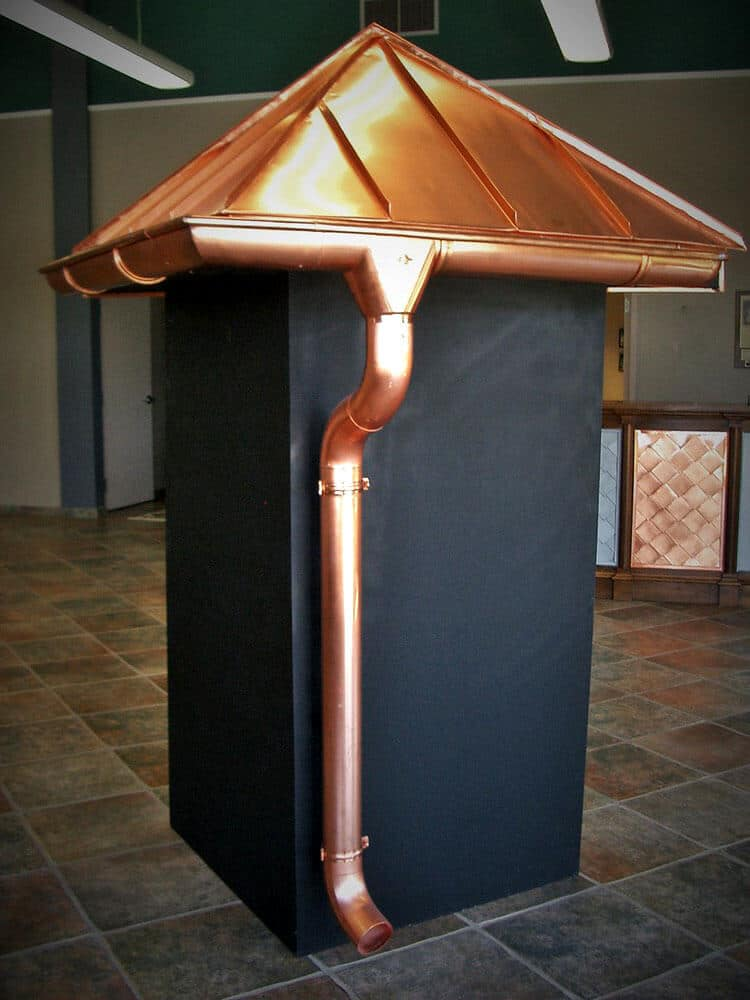 copper gutter system with copper awning