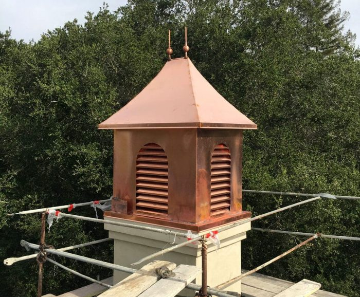 copper mini house style chimney cap
