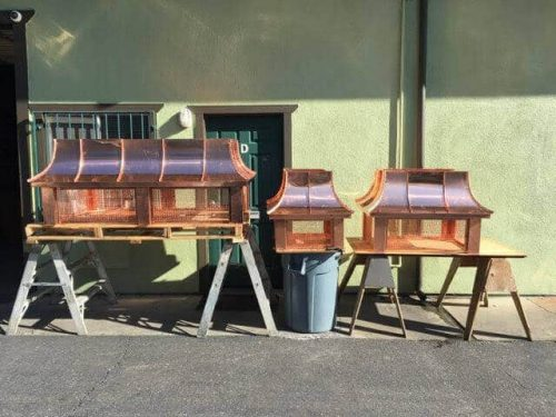 standing seam copper chimney caps in various sizes